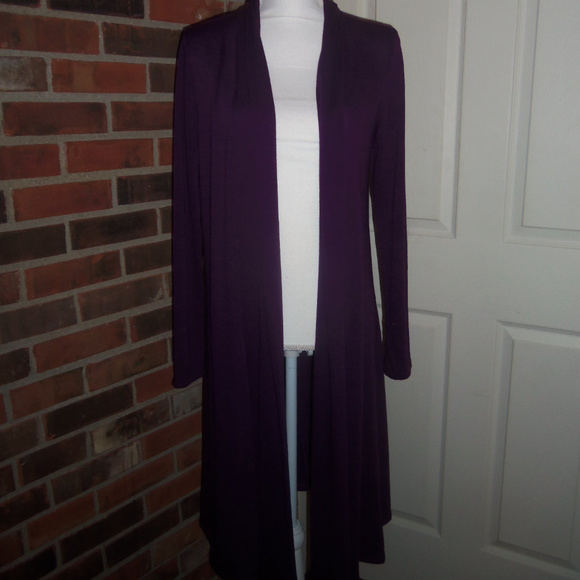 Rags & Couture Knee Length Draped Hacci Cardigan L
